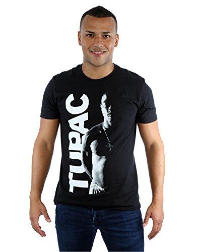 Tupac Men's Side Photo T-Shirt Large Black (Tupac Ring)