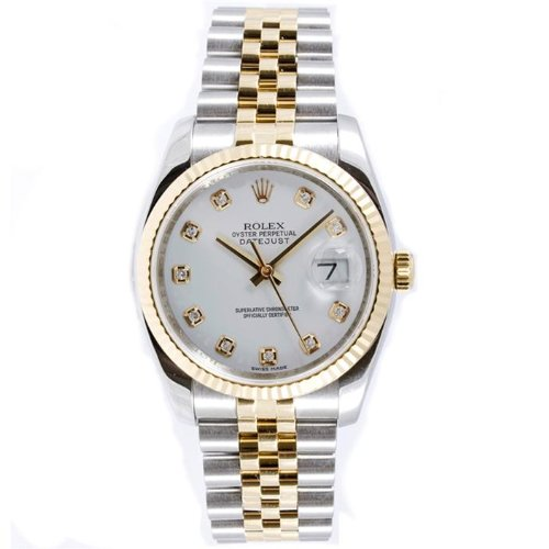 Rolex Mens New Style Heavy Band Stainless Steel & 18K Gold Datejust Model 116233 Jubilee Band Fluted Bezel White Diamond Dial