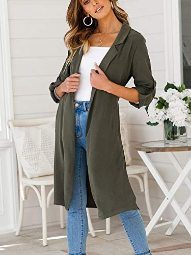 Top Cardigan Donna Giacca Autunno Lunghe Lungo Trench Verde Casuale Maniche EpdZq