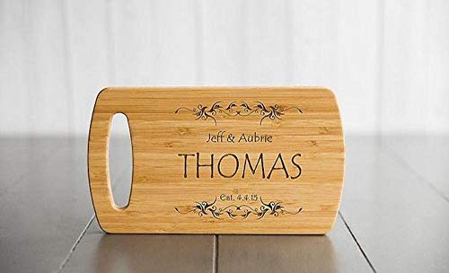 Personalized Wedding Gifts Cutting Board - Wood Cutting Boards, Also Bridal Shower and Housewarming Gifts (5.5 x 9.5 Bamboo with Easy Carry Handle, Thomas Design) -