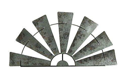 Special T Imports Galvanized Metal Half-Windmill Wall Sculpture (36