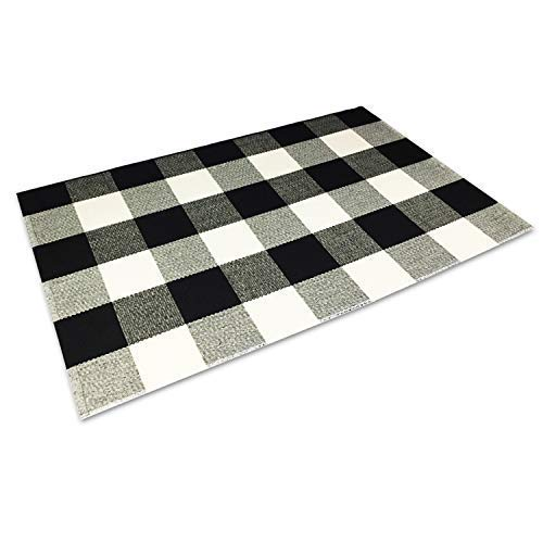 Winwinplus 100% Cotton Buffalo Check Rug,Black/White Hand-Woven Checkered Carpet Washable Rag Throw Rugs,23.6''x35.4'',Black and White Rugs for Living Room/Kitchen ()