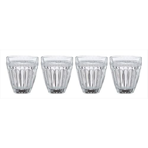 4 Double Old Fashion Glasses (Lenox French Perle Double Old Fashion Glass (Set of 4), Clear)