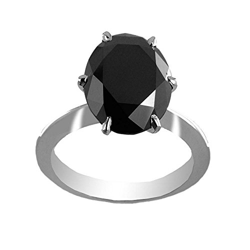 Certified 3.15 Ct Round Black Diamond Solitaire Ring Gift for Girlfriend by Barishh