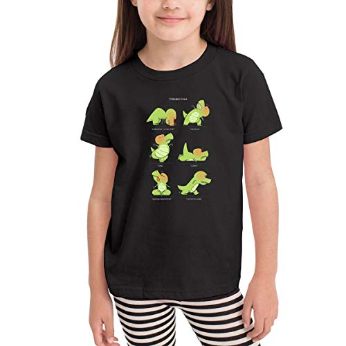 Toddler Baby T-Rex Tries Yoga Children's T-Shirt Clothing Funny Crew Neck Tee Black ()