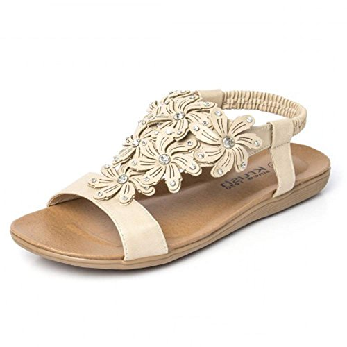 New Women's Diamante Stunning Sandals Summer Ankle Sling Back Strap Flat Shoes Nude - Fl dRUlDLcxwa