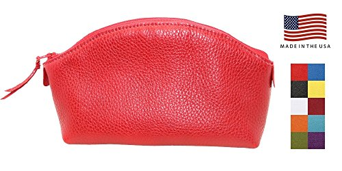 Red Genuine Leather Cosmetic Bag for Women Colorado Collection – Made in USA by Real Leather Creations Factory Direct – Gift Box – Designer Quality Small Makeup Bag for Purse FBA655