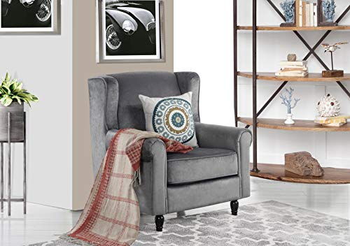 (Classic Scroll Arm Velvet Fabric Accent Chair, Living Room Armchair (Grey))