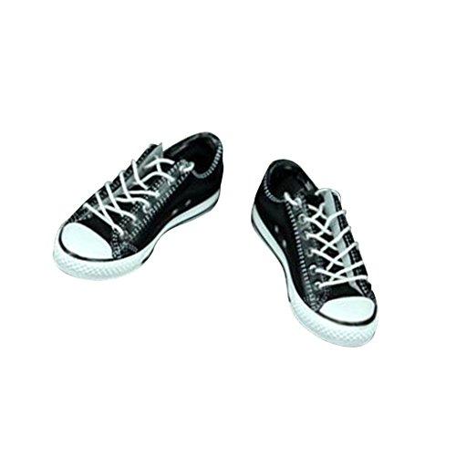 [해외]Jili 온라인 16 블랙 고무 캔버스 신발 트레이너 운동 화에 대 한 삐 HT SS 남성 피 규 어 / Jili Online 16 Black Rubber Canvas Shoes Trainers Sneakers for BBI HT SS Male Figures