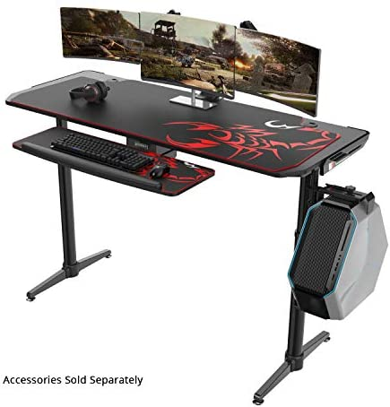 EUREKA ERGONOMIC IM60 Gaming Desk 60 I Shaped PC Computer Gaming Tables Mechanical Height Adjustable Computer Desk with Large Mousepad for Men Boyfriend Female Gift