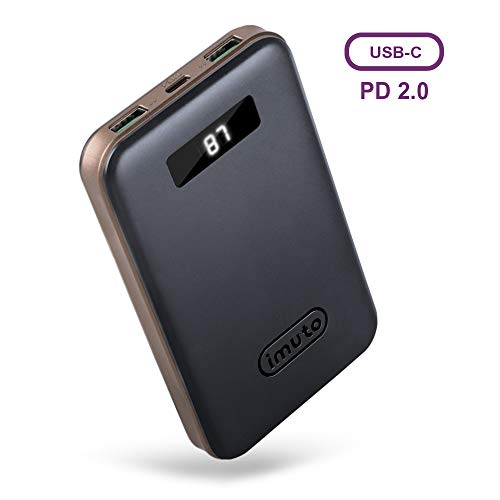 imuto PD Power Bank, Portable Phone Charger 10000mAh with LCD Display, 18W USB C & QC 3.0 External Battery Charger, Fast Charge for iPhone XR XS Max X 8 Plus, iPad Pro, Galaxy S9, Nintendo Switch, etc