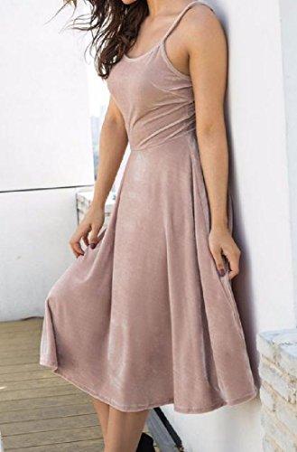 Khaki Sling Mid Dress Bandage Length Women's Strap Comfy Knee Spaghetti wxBqzYP0