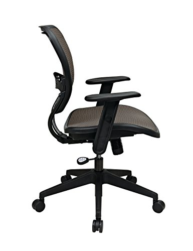 SPACE Seating AirGrid Latte Back and Mesh Seat, 2-to-1 Synchro Tilt Control, Adjustable Arms and Tilt Tension Nylon Base Managers Chair by Space Seating (Image #2)