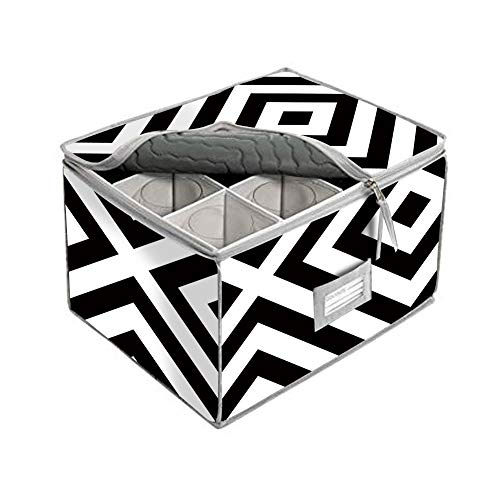Stemware Storage Chest, China Cup Storage Containers Bins, Service for 12, Great for Protecting Or Transporting Wine Glasses,Champagne Flutes,Goblets,and More (white black geometry pattern)