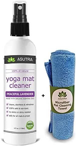 100% Natural & Organic Yoga Mat Cleaner, SAFE FOR ALL MATS, No Sticky Or Slimy Residue - Cleans, Restores, Refreshes + FREE Microfiber Cleaning Towel Included