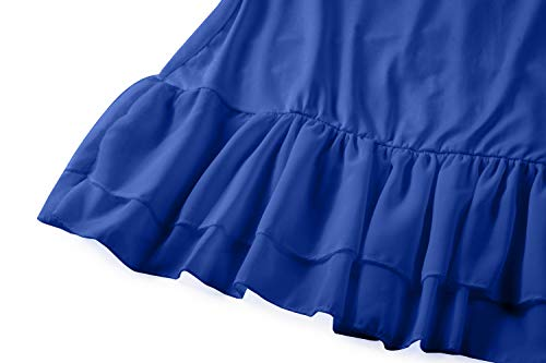 Women's BBX Chiffon Ruffle Lephsnt Blue Adjustable Camisole Extender Strap Spaghetti Dress rq5qP