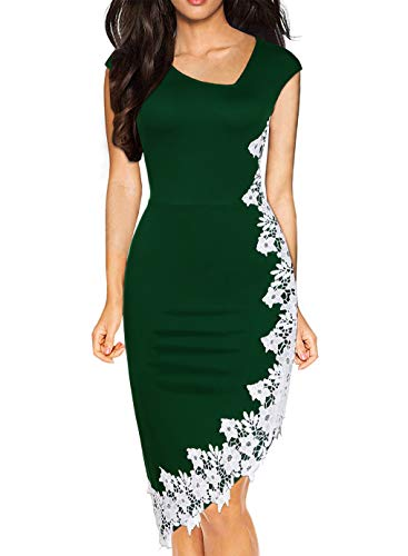 Drimmaks Women's New Irregualr Neck White Lace Patchwork Hi-Low Pencil Evening Party Cockail Dress (023-Green, M)