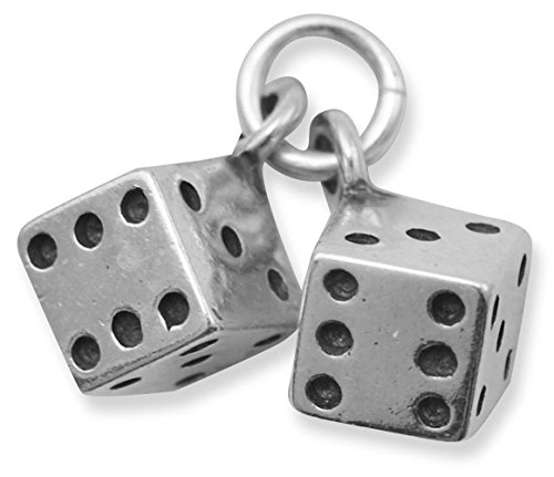 Oxidized Sterling Silver Charm Set, Pair of Dice, 3/8 inch