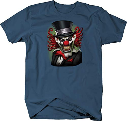 Scary Clow Wearing Top Hat Smiling Looking Custom Tshirt - Medium