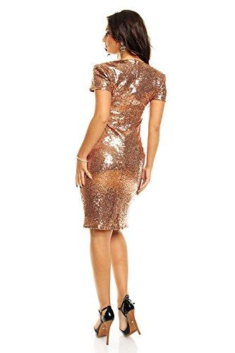 cocktail poposh con vestito vestito Elegante Marrone sera Pailletten paillette ricamati da pxw6pXqI