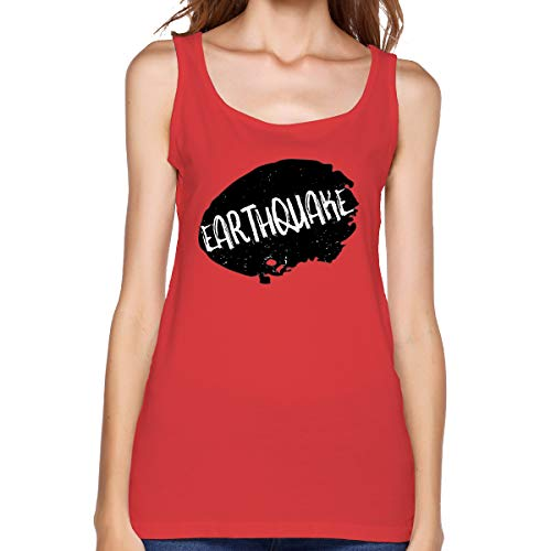 (Earthquake Rubber Stamp Women's Tank Top Summer Casual Beach Sleeveless T Shirt Red)