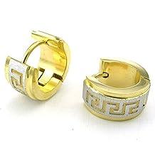 Konov Jewelry Mens Stainless Steel Stud Huggie Hoop Earrings Set, Gold Silver, with Gift Bag, C24769