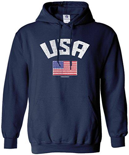 Threadrock Men's USA American Flag Hoodie Sweatshirt M Navy