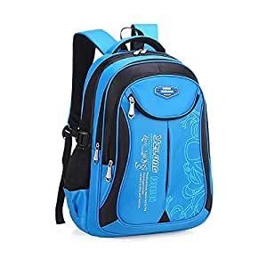 Travel Sports Shoulder Backpack Hiking waterproof Zipper Laptop Bag school Bag Small Blue - Black