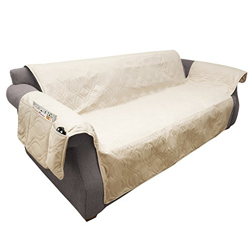 Furniture cover, 100% Waterproof Protector Cover for Couch/Sofa by PETMAKER, Non-Slip, Stain Resistant, Great for Dogs, Pets, and Kids – Tan