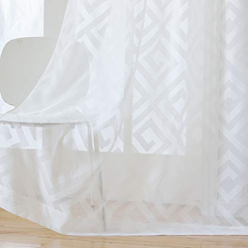 Taisier Home Off White Sheer Curtain Voile Panels Solid Semi Transparent Rod Pocket Window Covering Drapes for Small Window,Lattice Sheer Curtains 52 x Long 63 inch,2 Panels ()