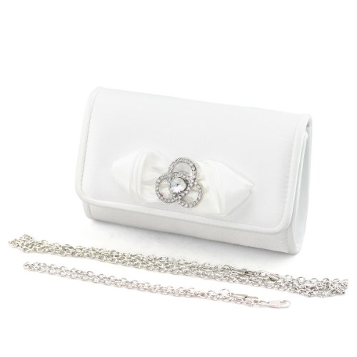 SHOEZY Gorgeous Satin Rhinestone Buckle Bridal Dress Bag Clutch Purse With Chains