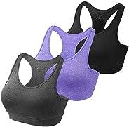 habibee Women's Sports Bra Seamless Racerback Removable Padded Medium Support for Yoga Gym Activewear Work