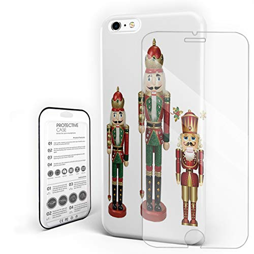 Durable Phone Case for iPhone 6/iPhone 6s, Three Nutcracker Soldiers Stylish Phone Shell Shockproof Protective Back Cover with Tempered Glass Screen Protector, Anti-Scratch
