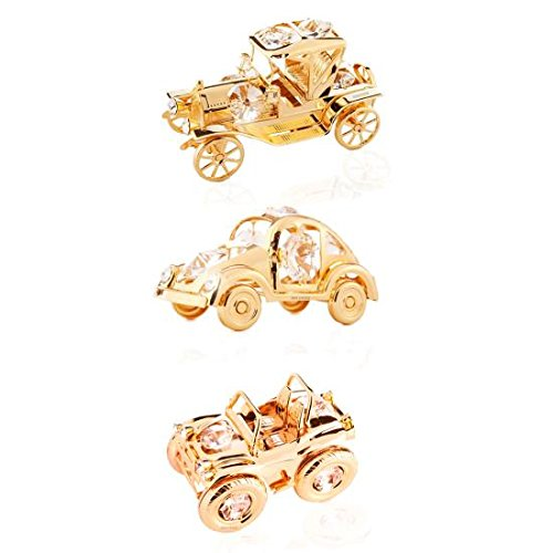 Collectibles Vehicle Package: 24K Gold Plated Crystal Studded Vintage Vehicles Ornaments by Matashi