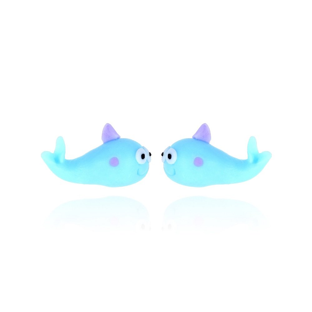 Cute Blue Cartoon Fish Stud Earrings Polymer Clay Animals Earrings for Girls Daughter