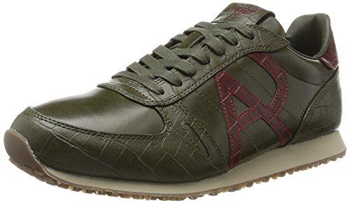 Armani Jeans Herren Sneaker Low Cut Grün (Dark Green 1861)