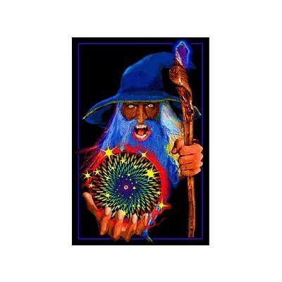 Mystic Wizard Flocked Blacklight Poster 23 x 35in
