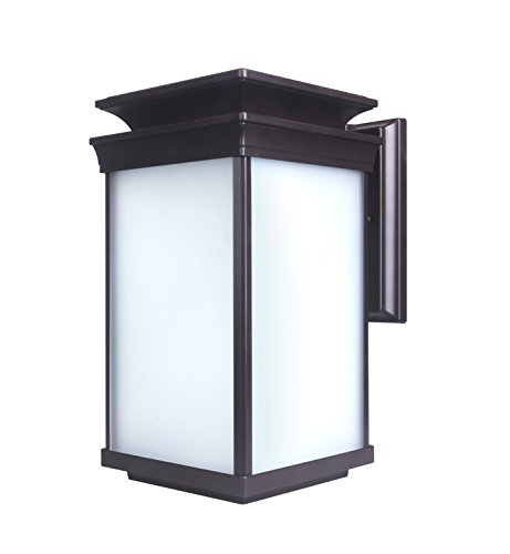 - CORAMDEO Outdoor LED Wall Lantern, Sconce or Porch Light, 12.5W with 1000 Lumens Replaces Standard 100W Traditional Fixture, Durable Aluminum Housing with Frosted Glass, ETL and Energy Star, Suitable