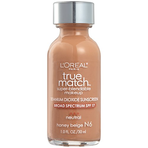 (L'Oreal Paris Makeup True Match Super-Blendable Liquid Foundation, Honey Beige N6, 1 fl. oz.)