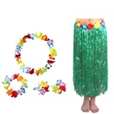 Green Adult Hawaiian Grass Hula Skirt with Hibiscus Flowers Waistbands Floral Leis Headband Wrist Flower Costume Suit Pack of 5 by ZXSWEET