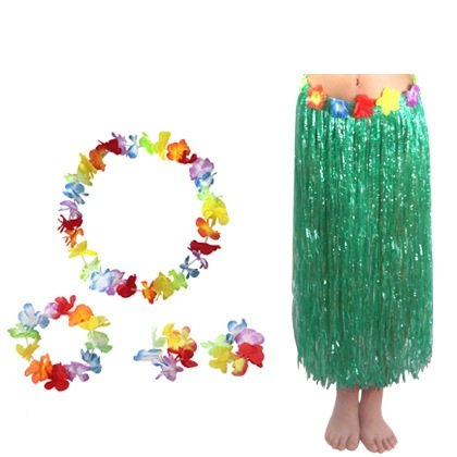 Green Adult Hawaiian Grass Hula Skirt with Hibiscus Flowers Waistbands Floral Leis Headband Wrist Flower Costume Suit Pack of 5 by ZXSWEET -