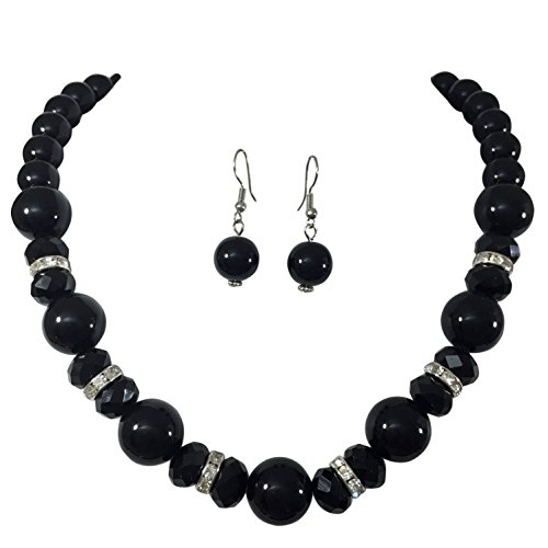 Single Strand Glass Beaded Rhinestone Imitation Pearl Necklace Dangle Earrings Set (Black)