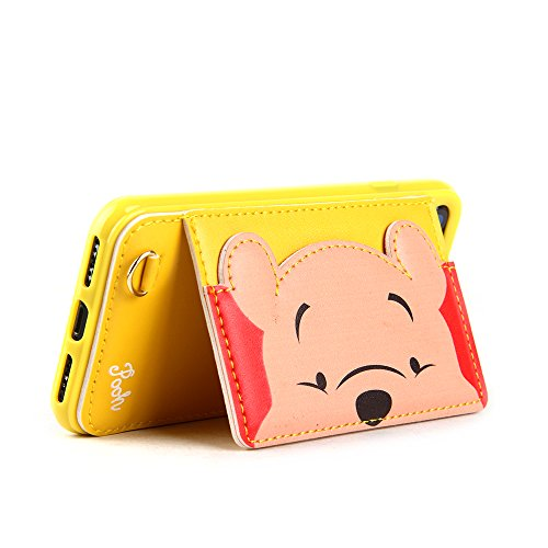 (Winnie The Pooh Bear Leather Case with Card Holder Stand for iPhone 7 8 iPhone7 iPhone8 Regular Size Kickstand Disney Cartoon Protective Shockproof Cute Lovely Chic Gift Kids Boys Girls Little Girls)