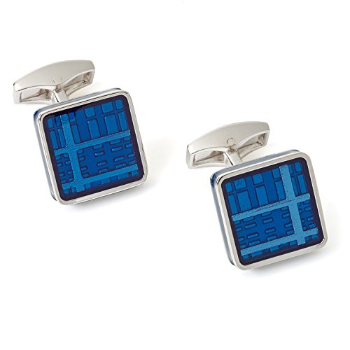 Tateossian Tartan Ice Cufflink in Rhodium Silver Case - Blue Enamel