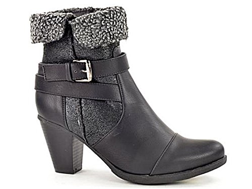 Ladies Coconel 236702 Faux Leather Sheepskin Trim Fashion Block Heel Winter Ankle Boots Size 3-8 Black Ehsj5zpAN