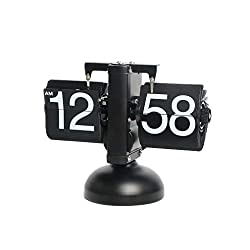 Flip Clock, Retro Auto Flip Down, Stainless Steel, Home Décor Desk Clock, Vintage Clock, Stainless Steel, Battery Powered, Digital Clocks for Living Room Décor, Desk, Shelf (Scale Retro Black)
