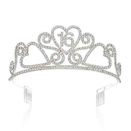 SWEETV Rhinestone Tiara Birthday Crown Princess Party Hat Hair Accessories 15/16/18/21/30/40/50/60/70th Birthday (Sweet 16 Accessories)