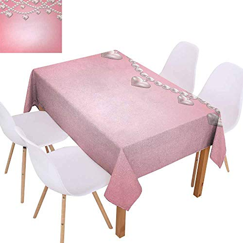 UHOO2018 Pearls,Washable Table Cloth,Heart Pearl Necklace Design Vintage Accessory Love Valentines Celebrating Artwork,Great for Tabletop Decoration,Beige Pink,55