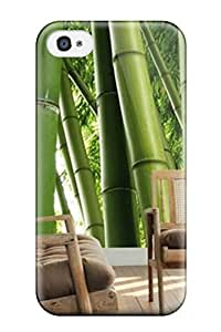 Protective Tpu Case With Fashion Design For Iphone 4/4s Bamboo