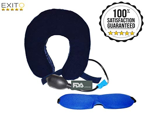 2018 New Cervical Neck Traction Collar for Men and Women,FDA Registered,Effective Neck Pain Remedy at Home, Extra Bonus Eye Mask -Brace for Home use by EXITO (Image #8)